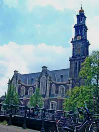 Westerkerk, western church in Amsterdam is a landmark in the Jordaan in amsterdam